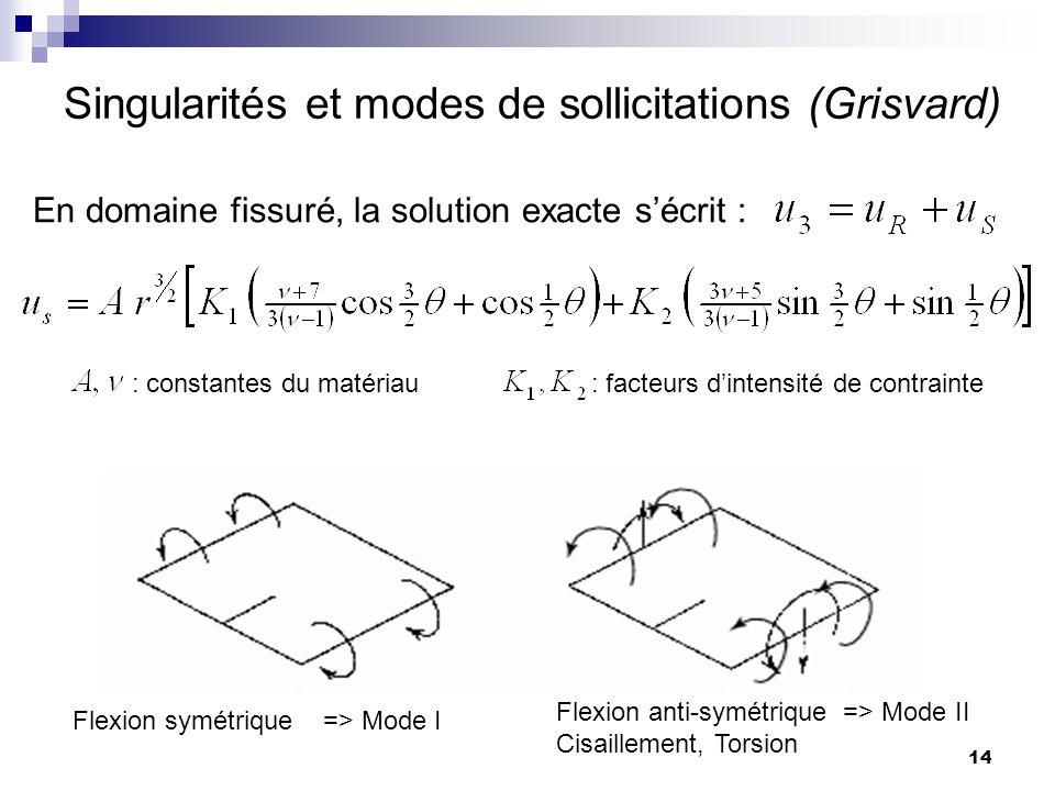 Singularités et modes de sollicitations (Grisvard)