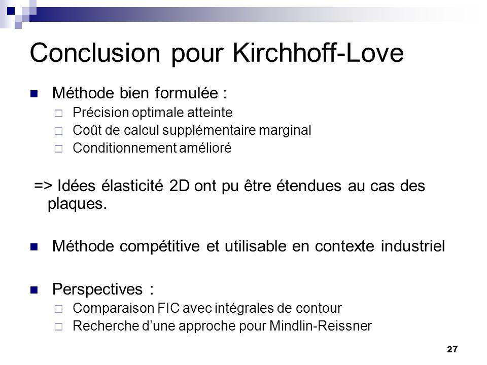 Conclusion pour Kirchhoff-Love