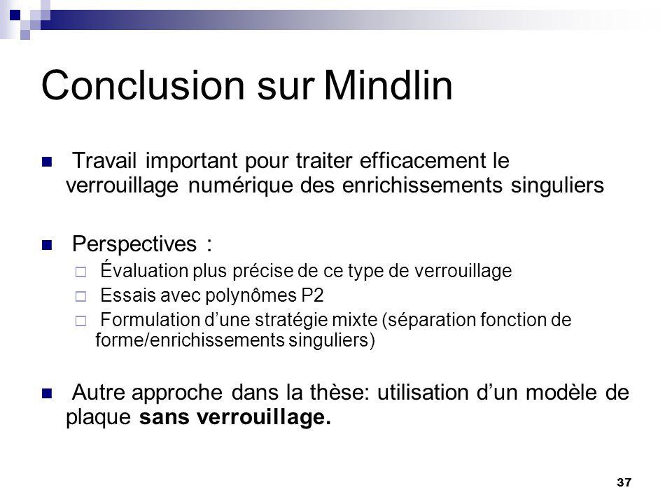 Conclusion sur Mindlin