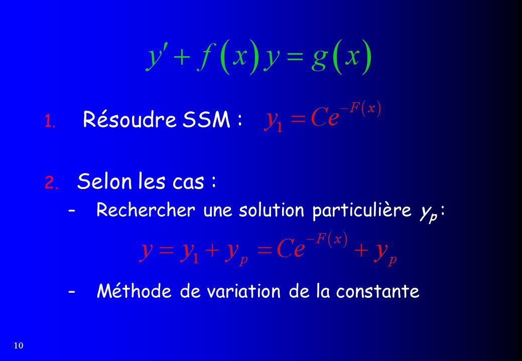 Résoudre SSM : Selon les cas :