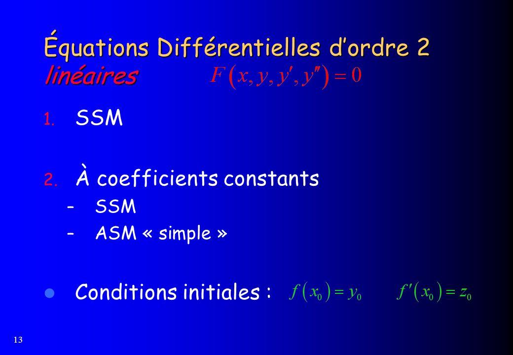 Équations Différentielles d'ordre 2 linéaires