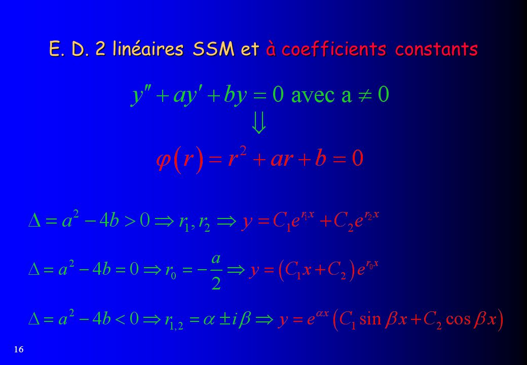 E. D. 2 linéaires SSM et à coefficients constants