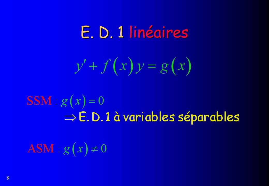 E. D. 1 linéaires