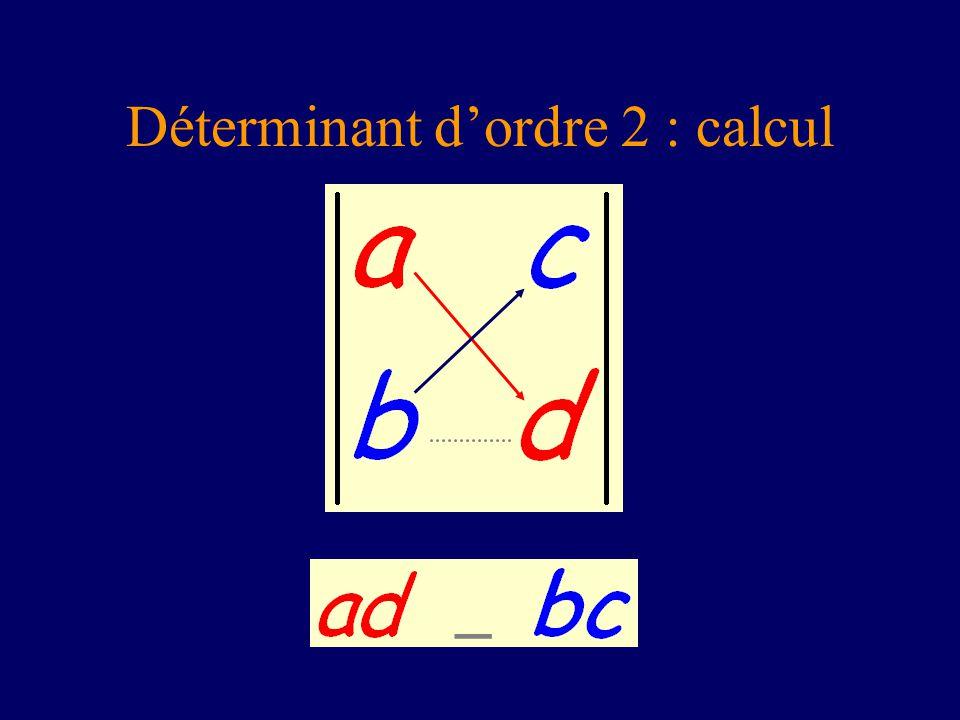 Déterminant d'ordre 2 : calcul