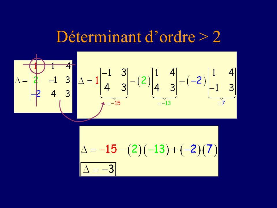 Déterminant d'ordre > 2