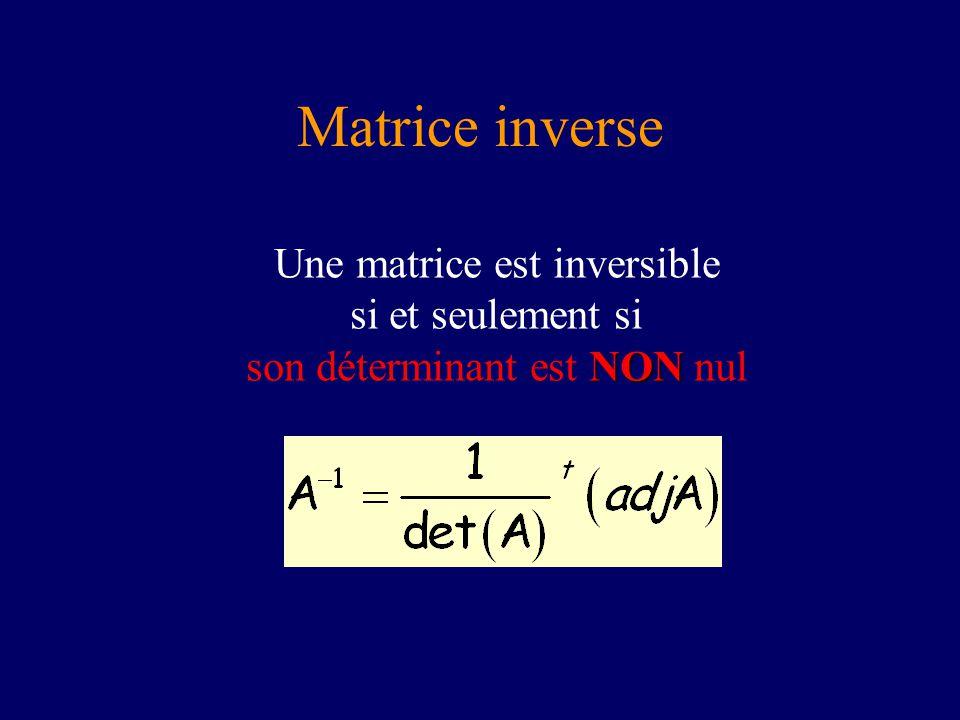 Matrice inverse Une matrice est inversible si et seulement si son déterminant est NON nul