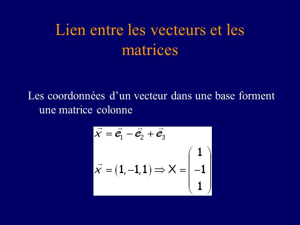 Lien entre les vecteurs et les matrices