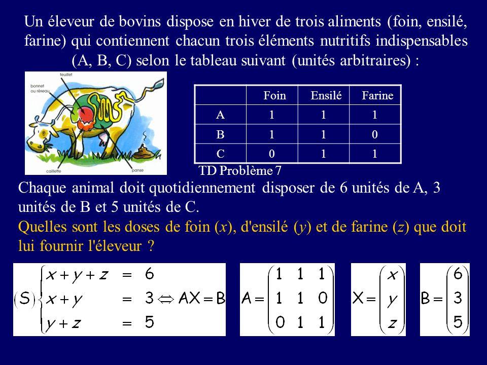 Un éleveur de bovins dispose en hiver de trois aliments (foin, ensilé, farine) qui contiennent chacun trois éléments nutritifs indispensables (A, B, C) selon le tableau suivant (unités arbitraires) :