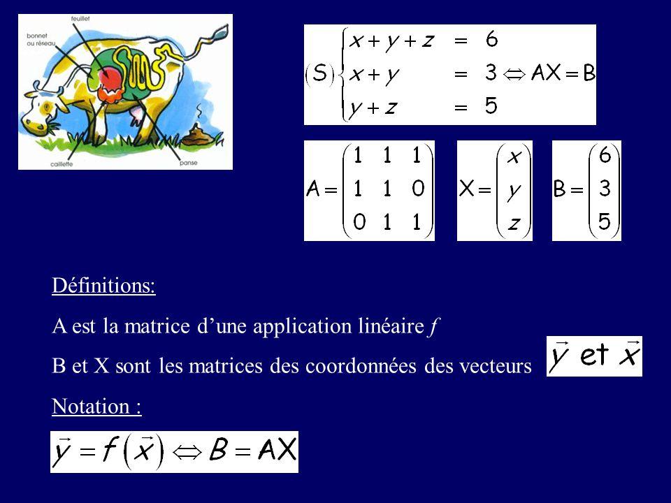 Définitions: A est la matrice d'une application linéaire f. B et X sont les matrices des coordonnées des vecteurs.