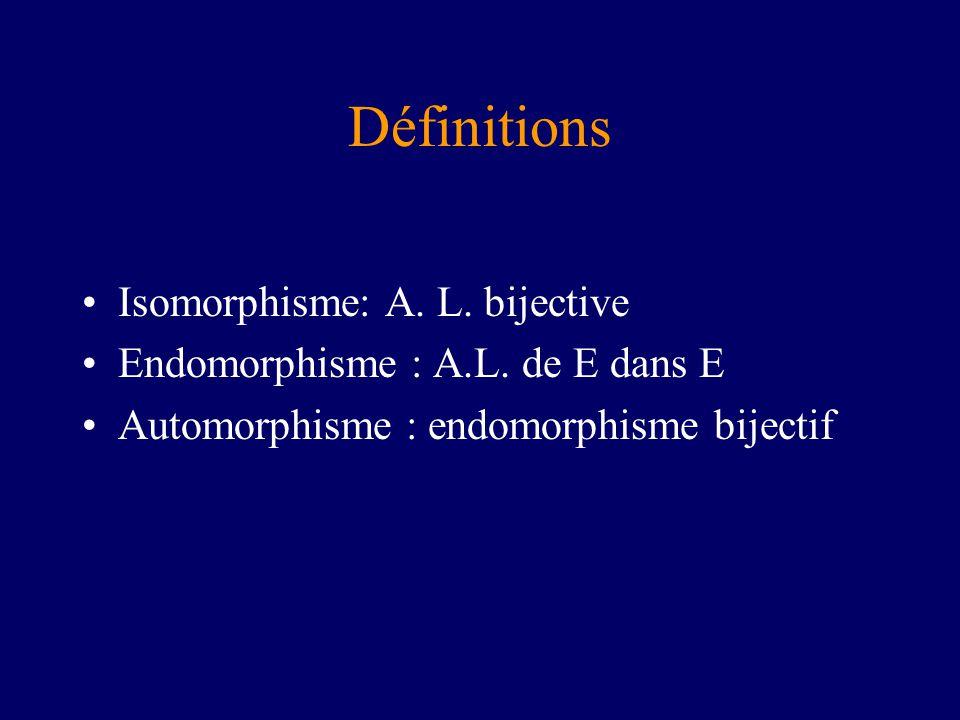 Définitions Isomorphisme: A. L. bijective