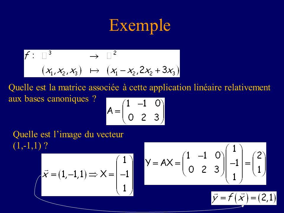 Exemple Quelle est la matrice associée à cette application linéaire relativement aux bases canoniques