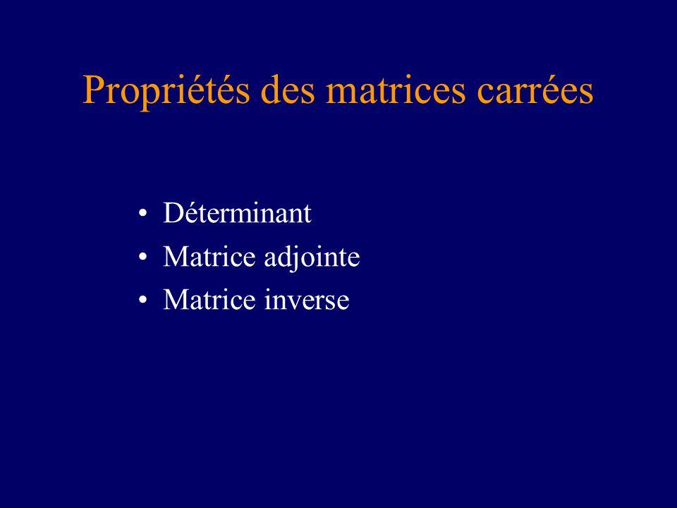 Propriétés des matrices carrées
