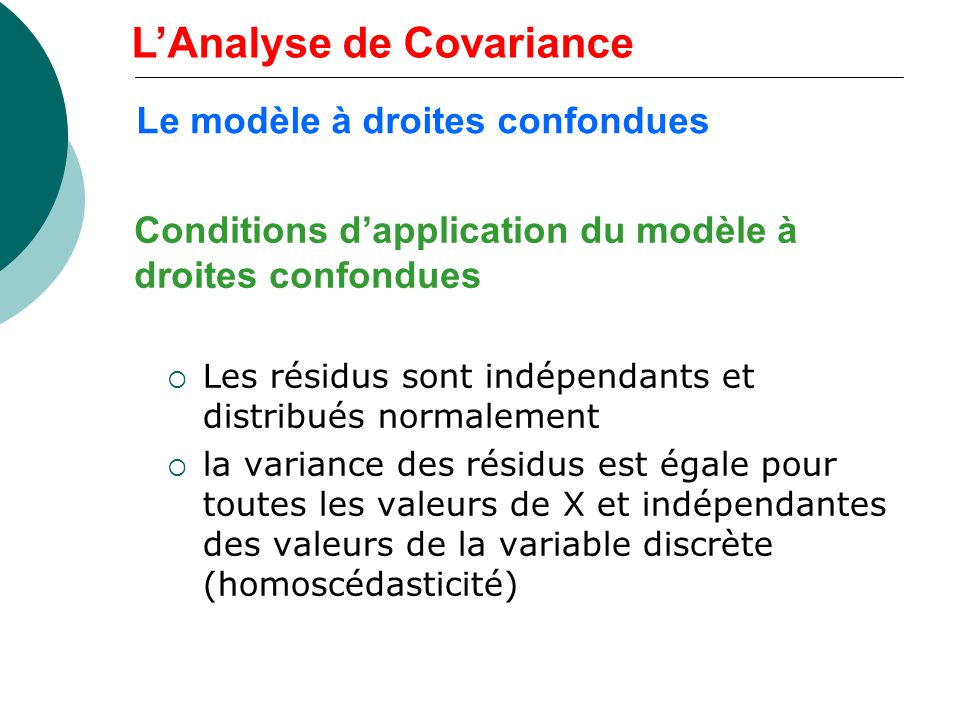 Conditions d'application du modèle à droites confondues