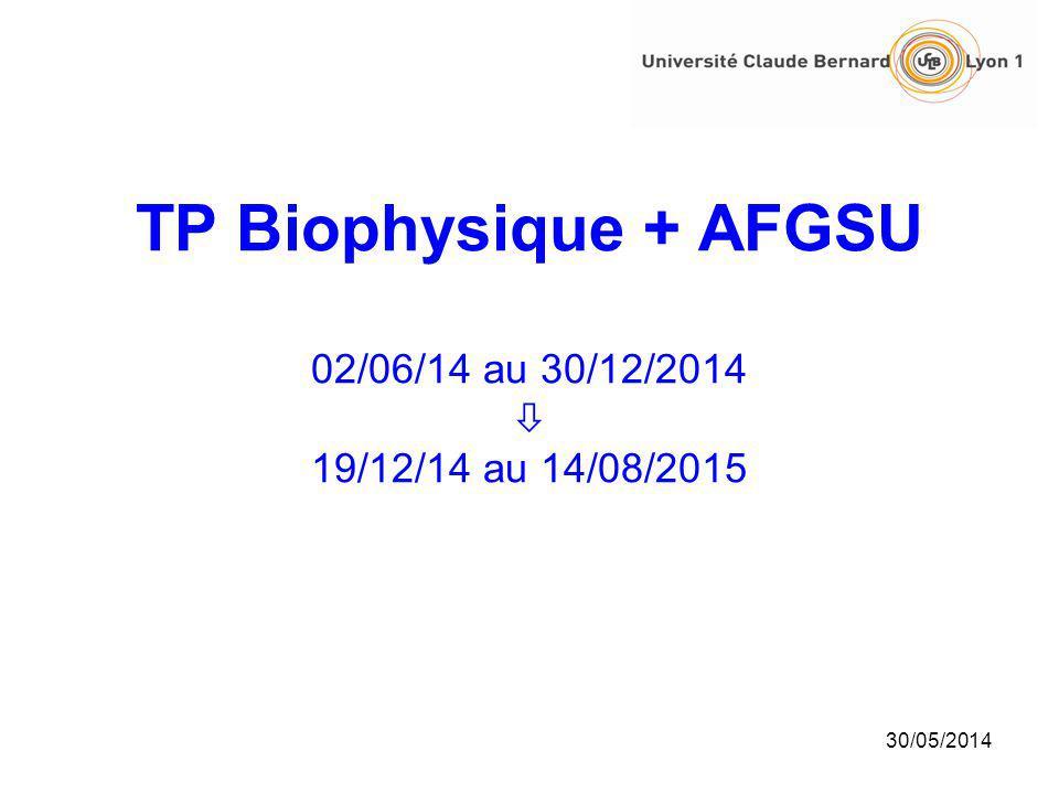 TP Biophysique + AFGSU 02/06/14 au 30/12/2014  19/12/14 au 14/08/2015