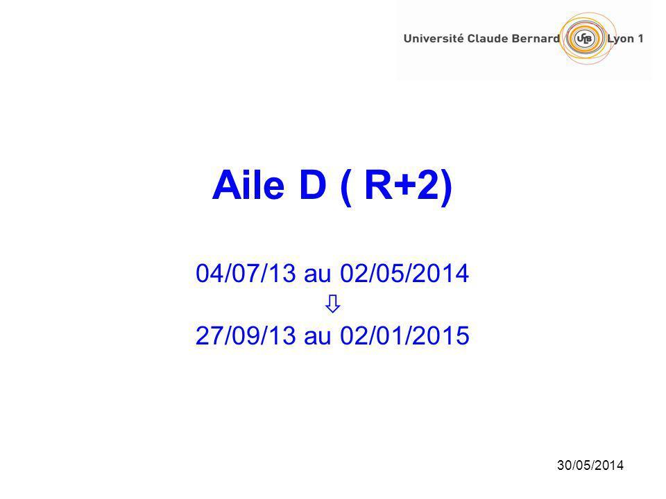 Aile D ( R+2) 04/07/13 au 02/05/2014  27/09/13 au 02/01/2015