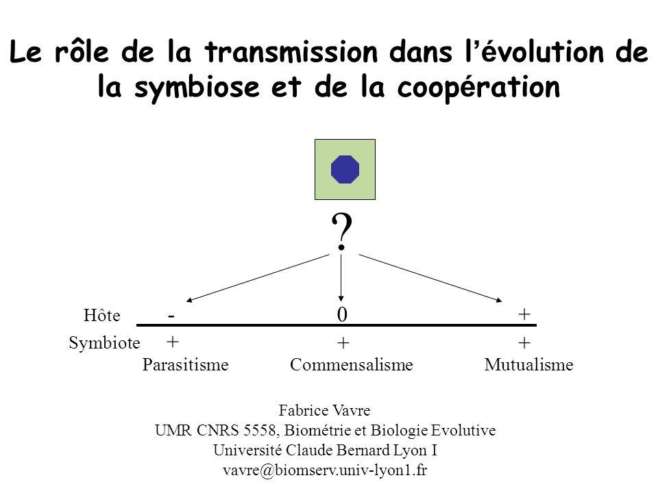 Le rôle de la transmission dans l'évolution de la symbiose et de la coopération