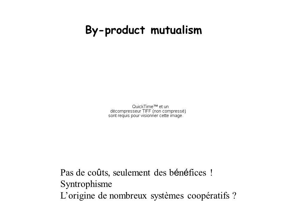 By-product mutualism Pas de coûts, seulement des bénéfices !