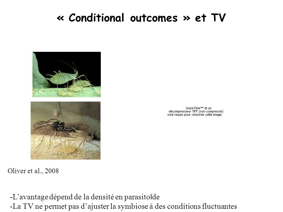 « Conditional outcomes » et TV