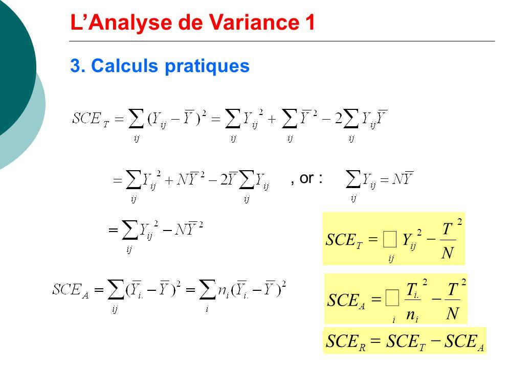 å å L'Analyse de Variance 1 3. Calculs pratiques SCE = - SCE = T n - N