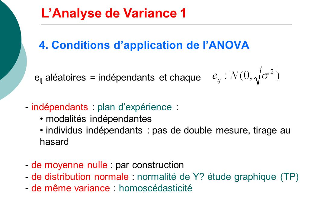 4. Conditions d'application de l'ANOVA