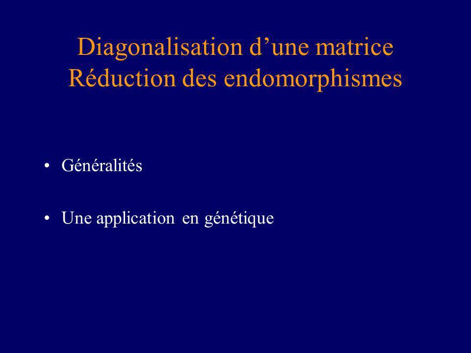 Diagonalisation d'une matrice Réduction des endomorphismes