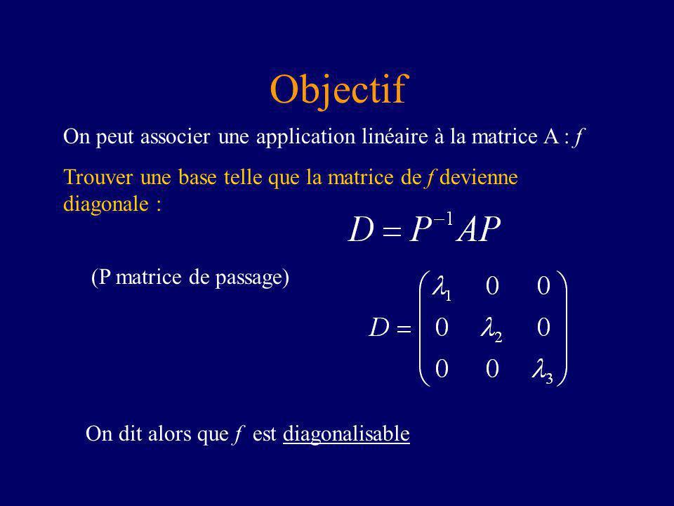 Objectif On peut associer une application linéaire à la matrice A : f
