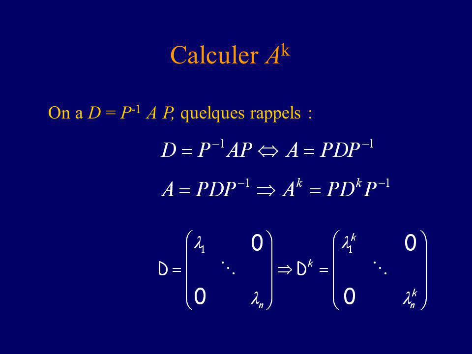 Calculer Ak On a D = P-1 A P, quelques rappels :