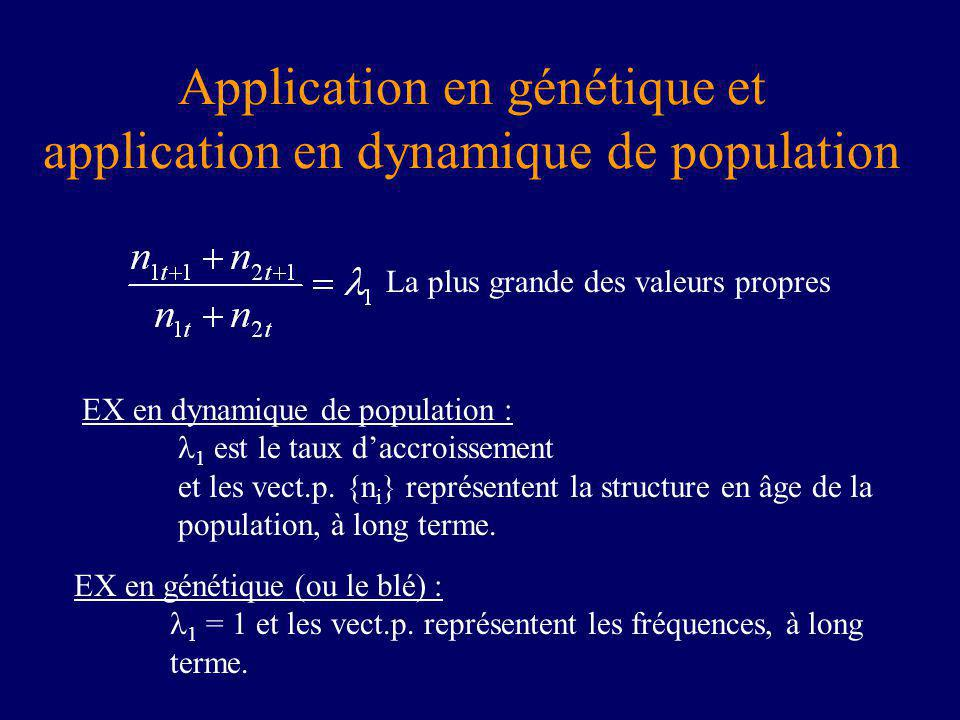 Application en génétique et application en dynamique de population