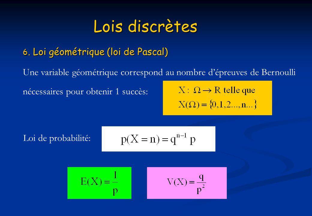 Lois discrètes 6. Loi géométrique (loi de Pascal) Une variable géométrique correspond au nombre d'épreuves de Bernoulli.
