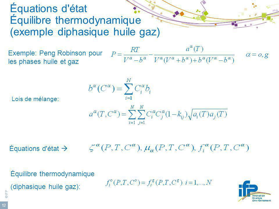 Équations d état Équilibre thermodynamique (exemple diphasique huile gaz)