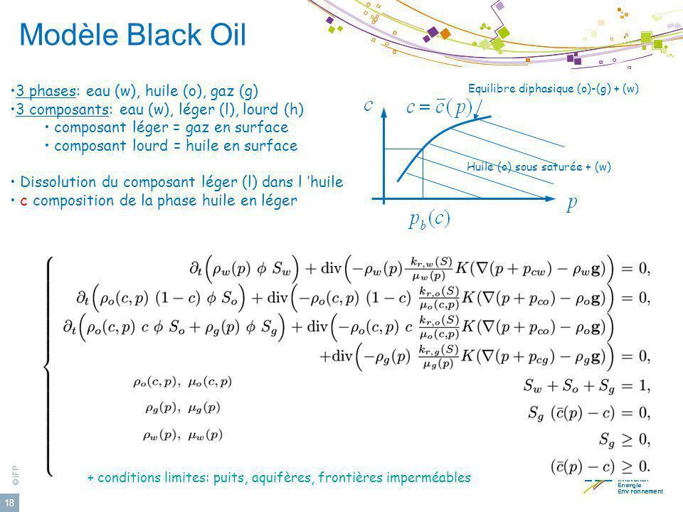 Modèle Black Oil 3 phases: eau (w), huile (o), gaz (g)