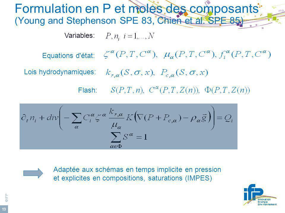 Formulation en P et moles des composants (Young and Stephenson SPE 83, Chien et al. SPE 85)