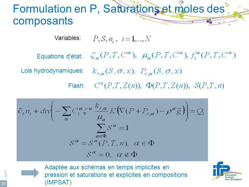 Formulation en P, Saturations et moles des composants