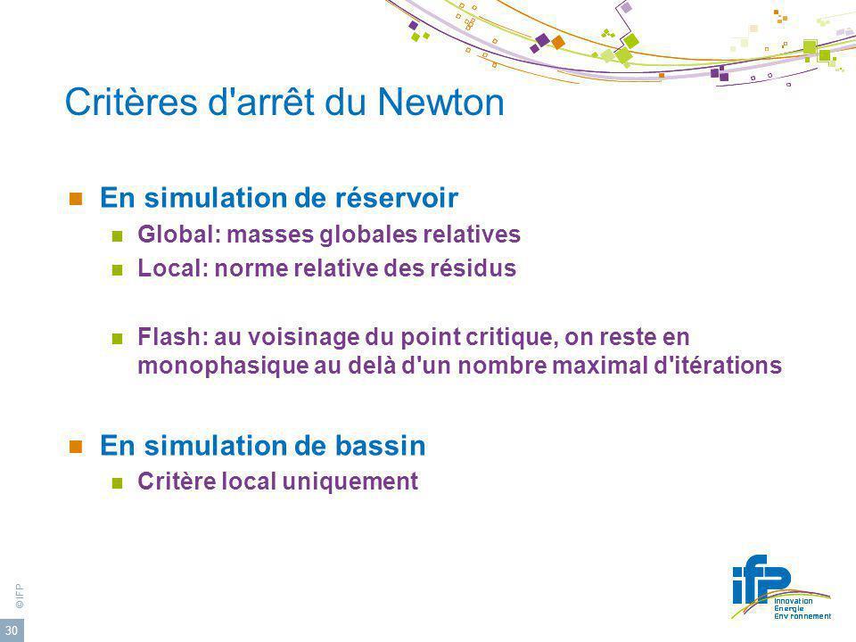 Critères d arrêt du Newton