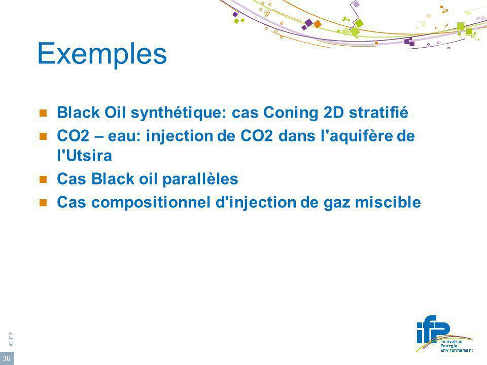 Exemples Black Oil synthétique: cas Coning 2D stratifié