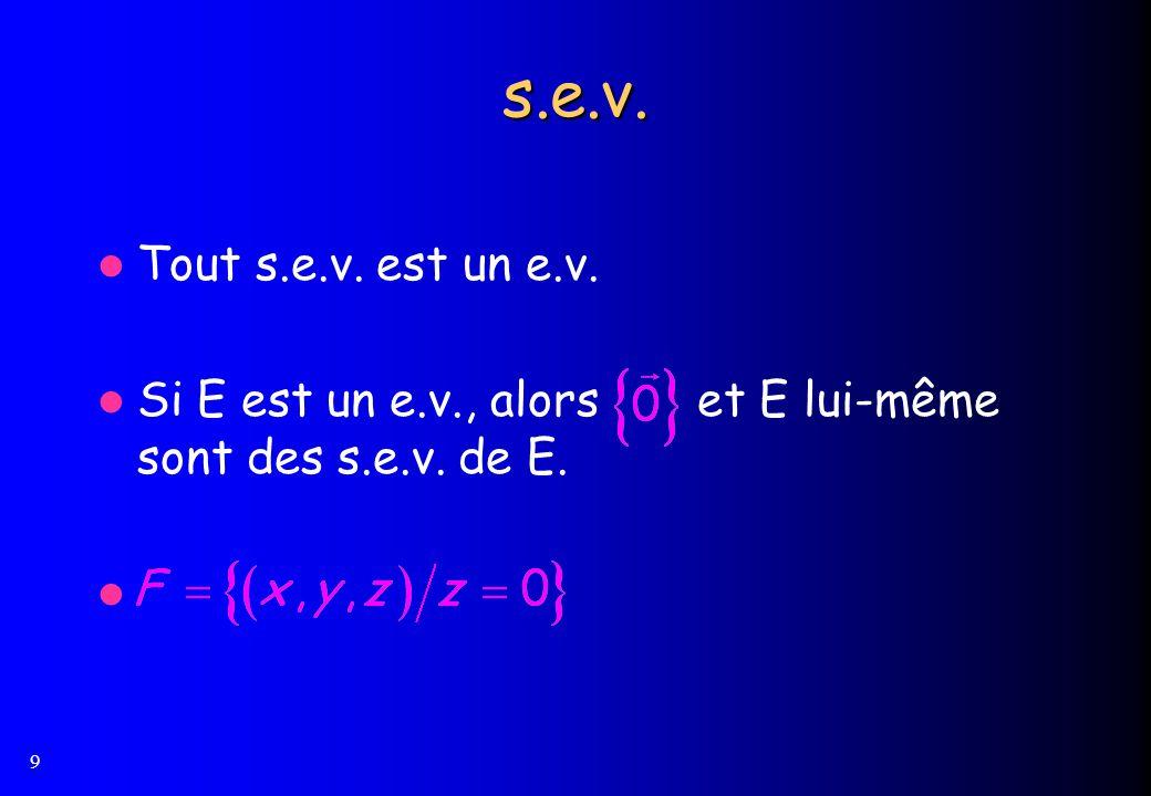 s.e.v. Tout s.e.v. est un e.v. Si E est un e.v., alors et E lui-même sont des s.e.v. de E.
