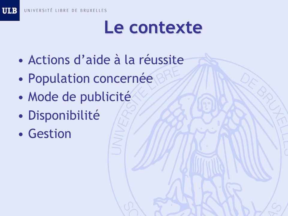 Le contexte Actions d'aide à la réussite Population concernée