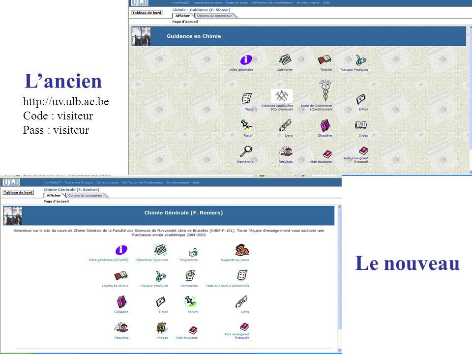 L'ancien Le nouveau http://uv.ulb.ac.be Code : visiteur