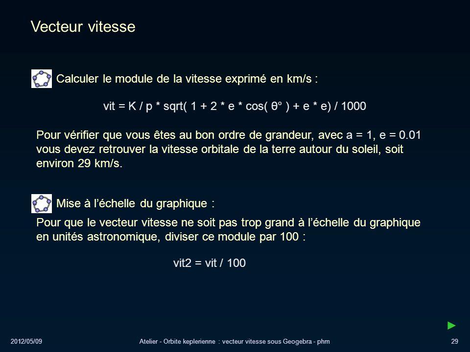 Vecteur vitesse Calculer le module de la vitesse exprimé en km/s :