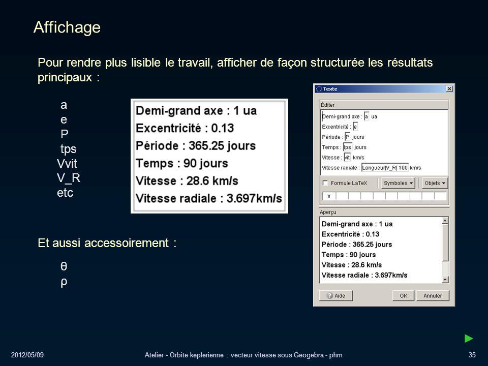 Atelier - Orbite keplerienne : vecteur vitesse sous Geogebra - phm
