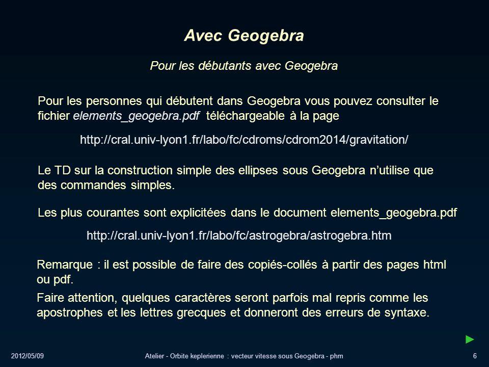 Avec Geogebra Pour les débutants avec Geogebra