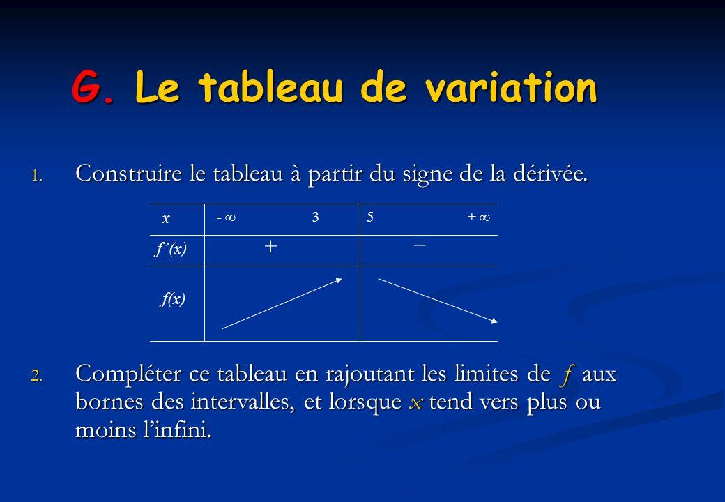 G. Le tableau de variation