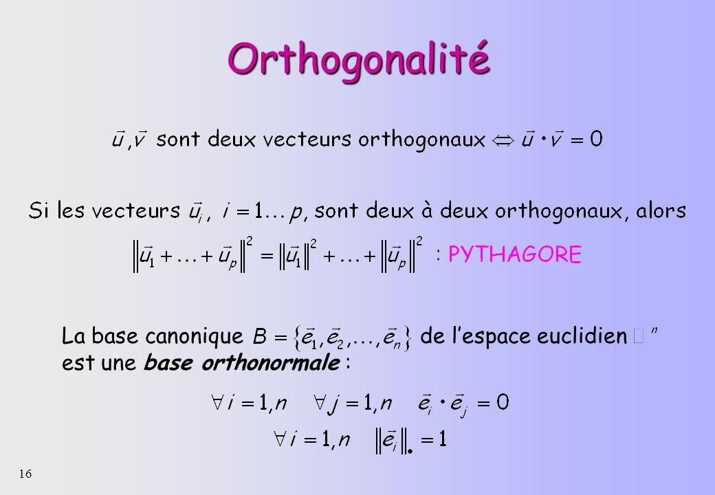 Orthogonalité La base canonique de l'espace euclidien est une base orthonormale :