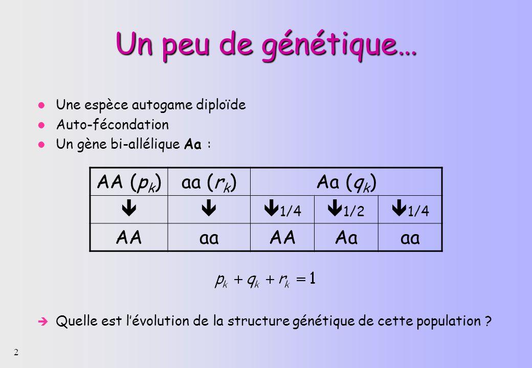 Un peu de génétique… AA (pk) aa (rk) Aa (qk)  1/4 1/2 AA aa Aa