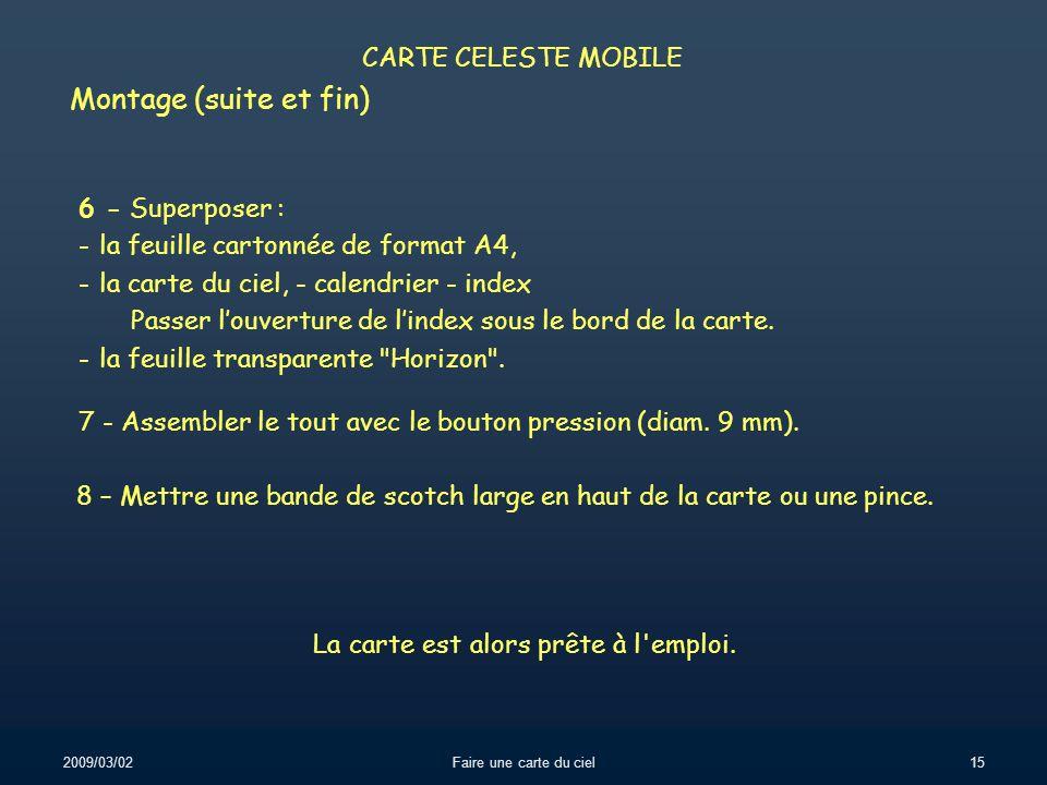 Montage (suite et fin) CARTE CELESTE MOBILE 6 - Superposer :