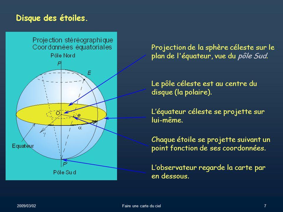 Disque des étoiles. Projection de la sphère céleste sur le plan de l équateur, vue du pôle Sud.