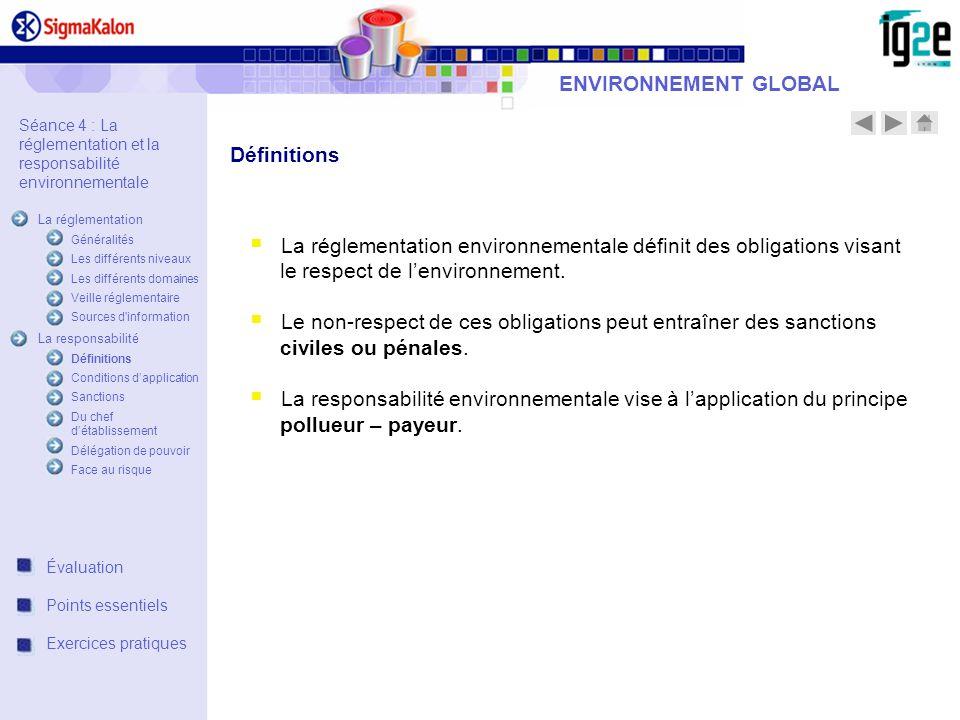 La réglementation environnementale définit des obligations visant