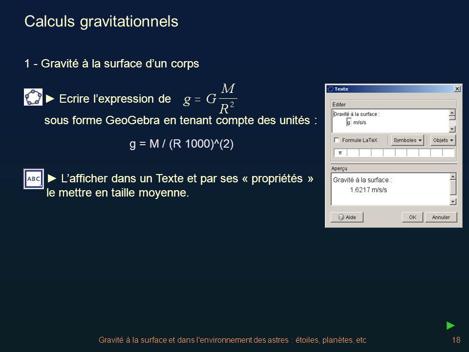 Calculs gravitationnels