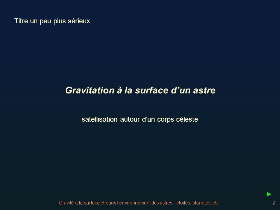 Gravitation à la surface d'un astre