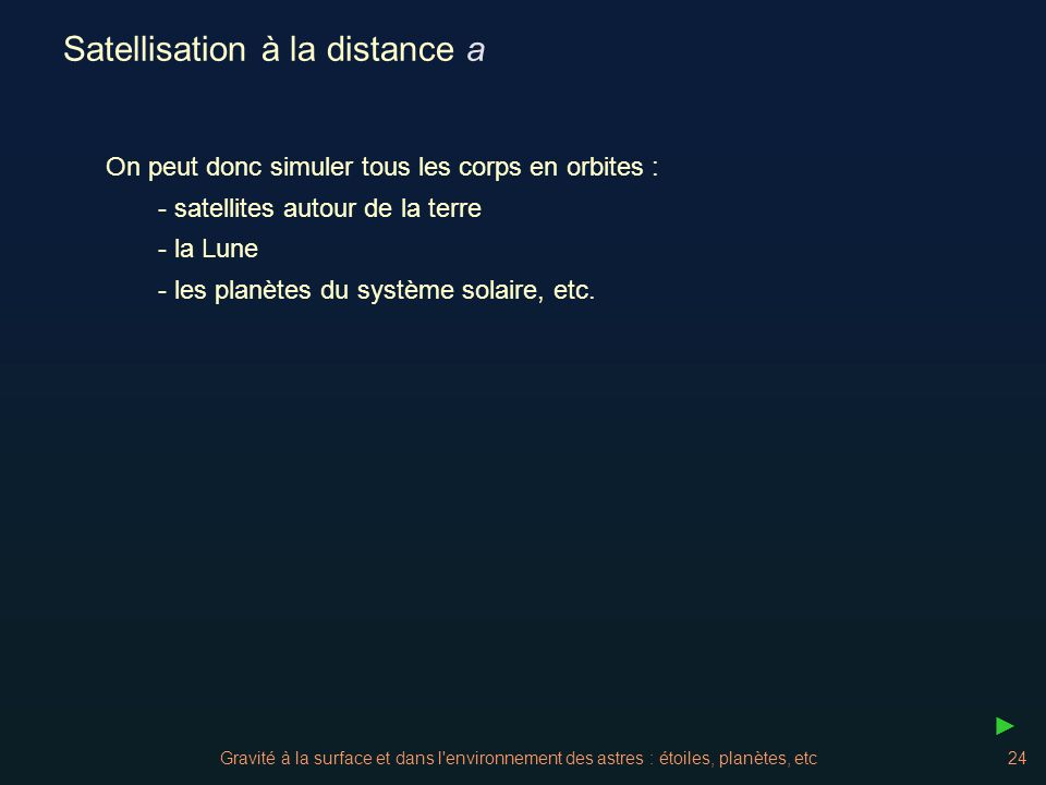 Satellisation à la distance a